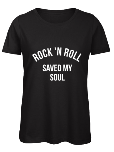 zwarte ronde hals vrouwen rock n roll saved my soul